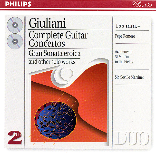 Giuliani Complete Guitar Concertos; Gran Sonata eroica and other solo works (Pepe Romero, Academy of St. Martin-in-the-Fields, Neville Marriner) Re-release on CD: Philips CD (set of 2) • Catalog no. 454 262-2
