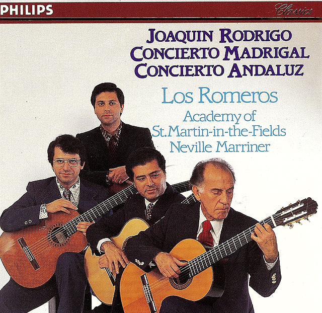 "Joaquín Rodrigo: ""Concierto Madrigal"" ""Concierto Andaluz"", Los Romeros (Academy of St. Martin-in-the-Fields, N. Marriner) Re-release on CD: Philips CD • Catalog no. 400 024-2"