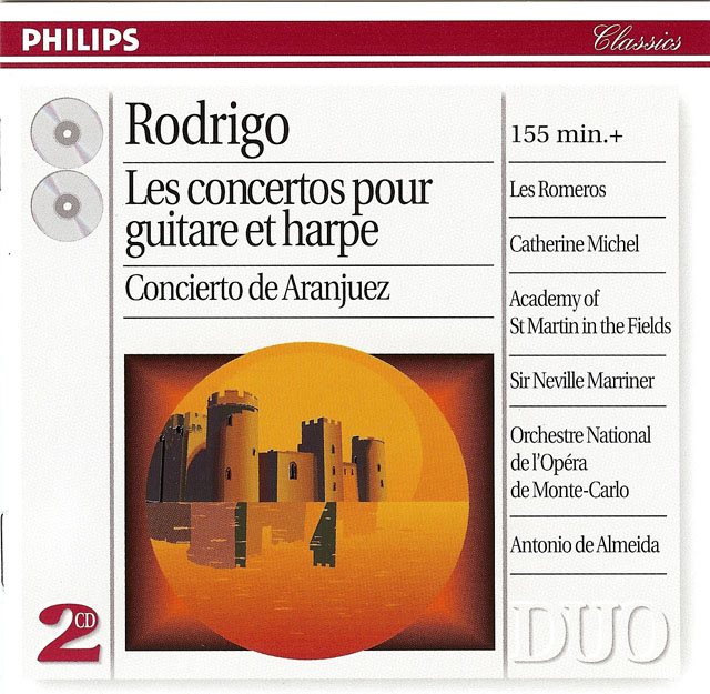 Rodrigo: Complete Concertos for Guitar and Harp (includes Aranjuez, Madrigal, Andaluz, Para una fiesta, Fantasía para un gentilhombre) Re-release on CD: Philips CD (set of 2) • Catalog no. 462 296-2
