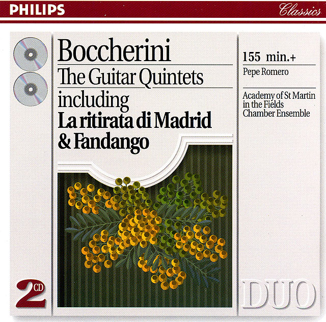 "Boccherini: The Guitar Quintets including ""La ritirata di Madrid"" & ""Fandango"" (Pepe Romero, Academy of St. Martin-in-the-Fields' Chamber Ensemble)         Re-release as CD box set: Philips CD (set of 2) • Catalog no. 438 769-2"
