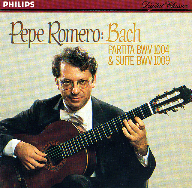 Pepe Romero: Bach Partita BWV 1004 & Suite BWV 1009 Recorded 1981: Philips LP • Catalog no. 6514 183  |  Philips CD • Catalog no. 411 451-2