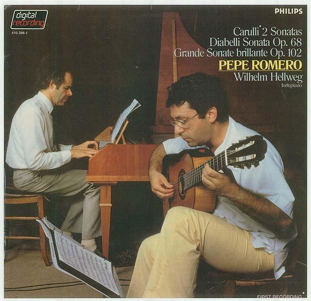 Carulli 2 Sonatas Diabelli Sonata Op. 68, Grande Sonate brilliante Op. 102   (Pepe Romero, Wilhelm Hellweg, forte piano) Recorded 1982: Philips LP • Catalog no. 410 396-1