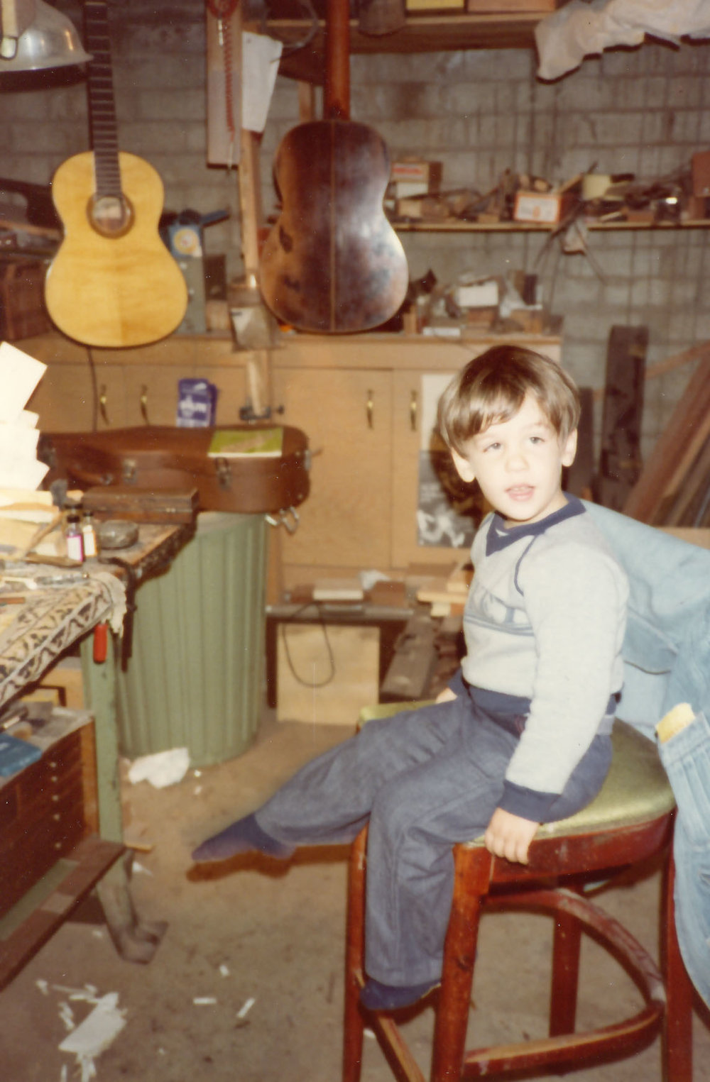 Pepe hijo in guitar shop of Yuris Zeltins 1980