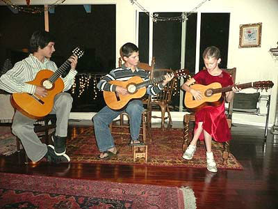 Pepe's grandchildren love to play the guitar!  (Bernardo, Jacob and Leah)