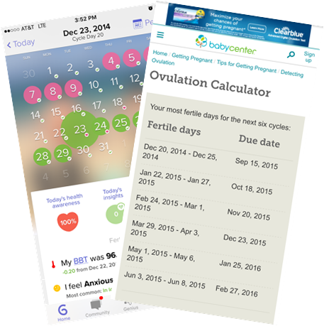 Screen shots from my app and my favorite baby birth day calculator.