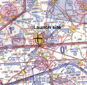 Map of launch site at Churchill Cambridge (Chart is courtesy of Ordnance Survey © Crown copyright 2008)