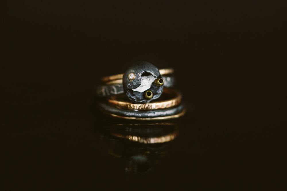 Argentium Silver, 18k Gold, Diamond