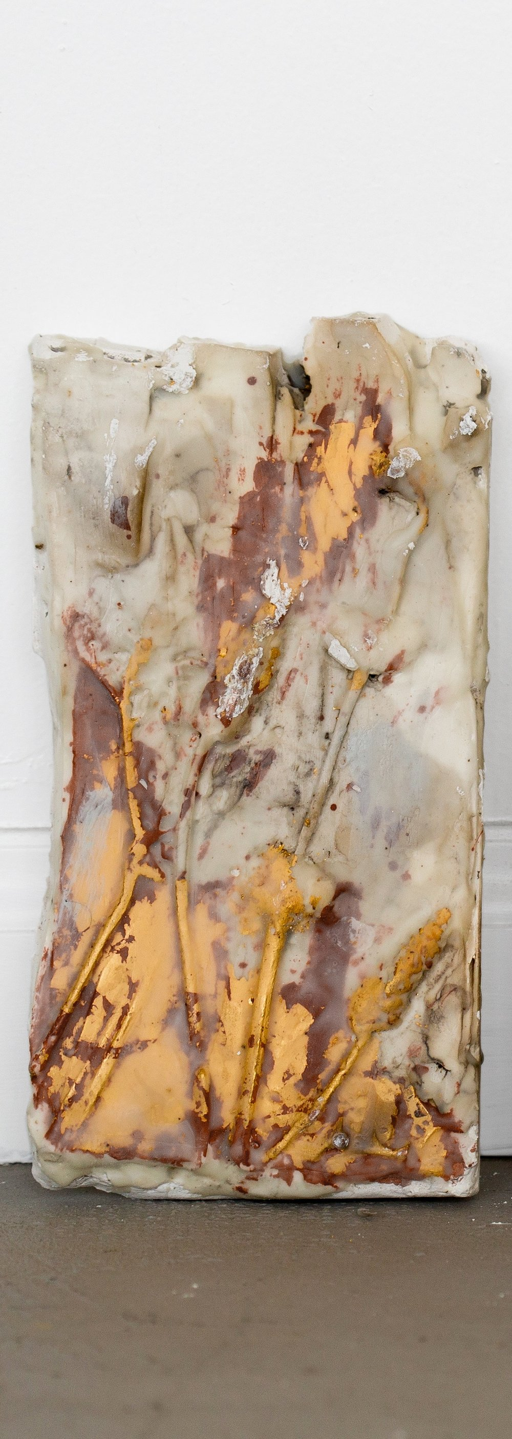"Walk #1           9"" x 5 1/4""  Plaster, Encaustic Medium, Gold Leaf"