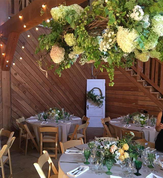 Giant bittersweet vine chandelier covered in greens, whites and butter yellow;  limelight Hydrangea, phlox and fennel, Pieris seed heads, green tomatoes, mid winter fire foliage, and hops!!! And several others! 💗  #seattlebridemag #floraldesign #floralchandelier #floralinstallation #hydrangea #wreathchandelier #slowflowers #localflowers #bainbridgeisland  At the beautiful @heydayfarmhouse
