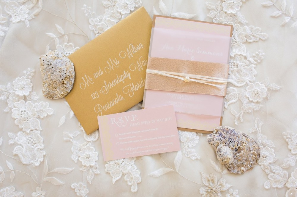 blush, pink, white, and lace pearl wedding invitation - grace and serendipity