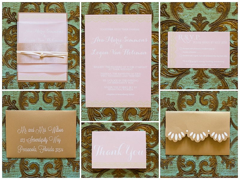 grace and serendipity - the lacy oyster - blush, pink, white, and lace pearl wedding invitation