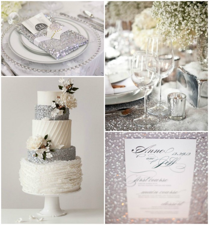 grace and serendipity - winter wedding inspiration ideas - glitter with silver