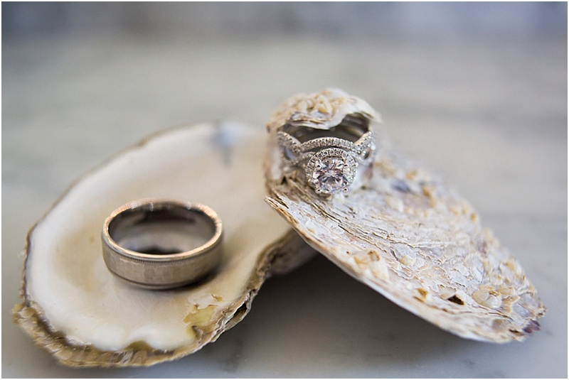 grace and serendipity, ashley victoria photography, fiore - the lacy oyster - oyster wedding ring detail shot
