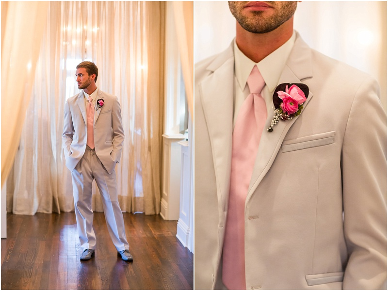 grace and serendipity, fiore, ashley victoria photography - the lacy oyster - pensacola wedding styled shoot - PINK BOUT WITH GRAY SUIT AND PINK TIE