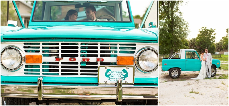 grace and serendipity, fiore, ashley victoria photography - the lacy oyster - pensacola wedding styled shoot - vintage teal bronco couple photo with lace dress, gray suit and tie bride and groom