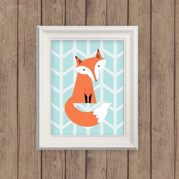 fox nursery woodland print