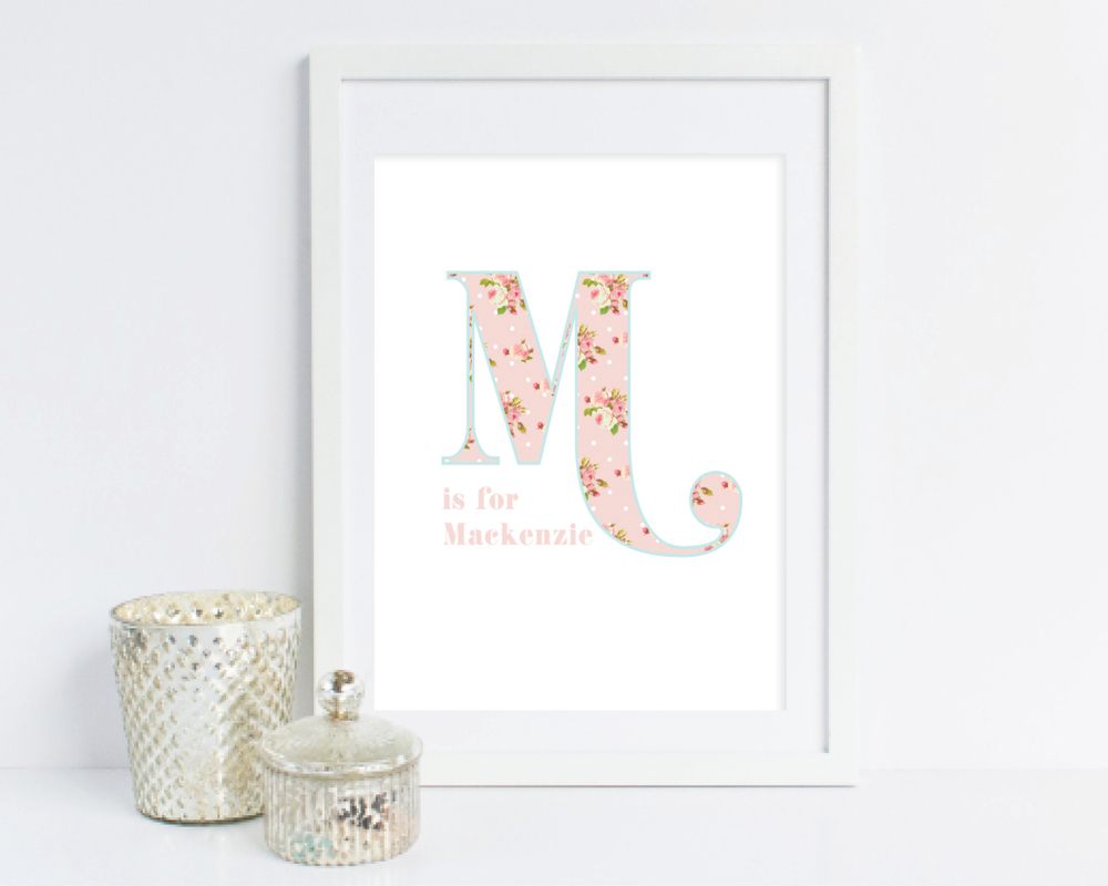 alphabet garden personalized room print - grace and serendipity