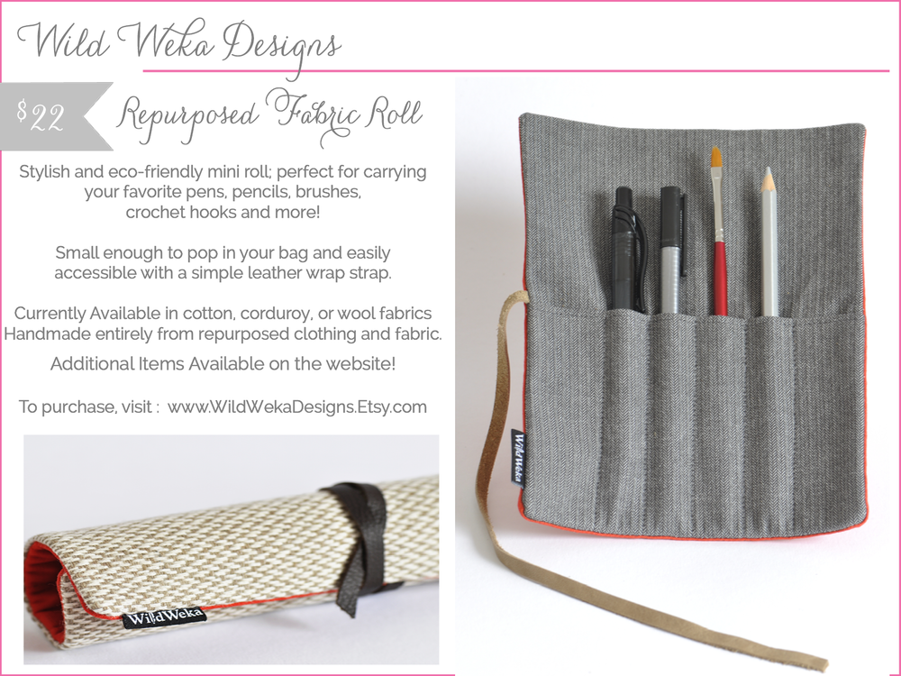 wild weka designs - pencil roll - shop small