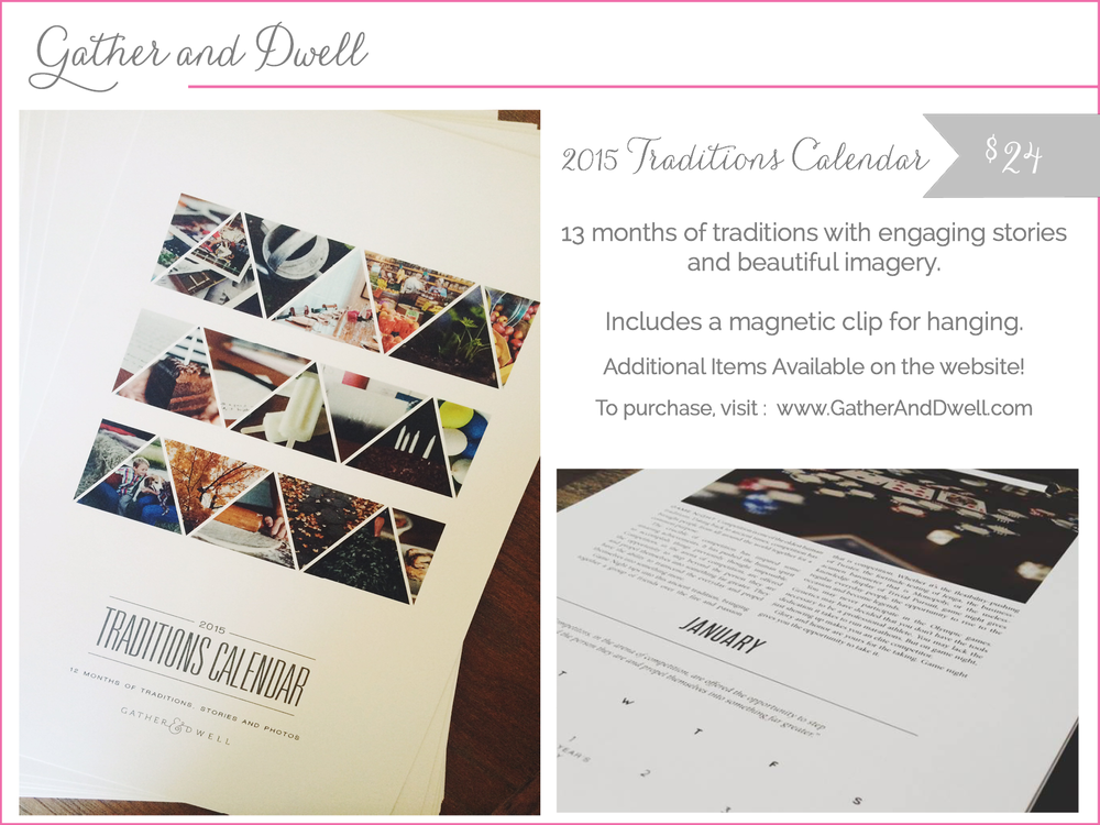 gather and dwell - 2015 traditions calendar - shop small