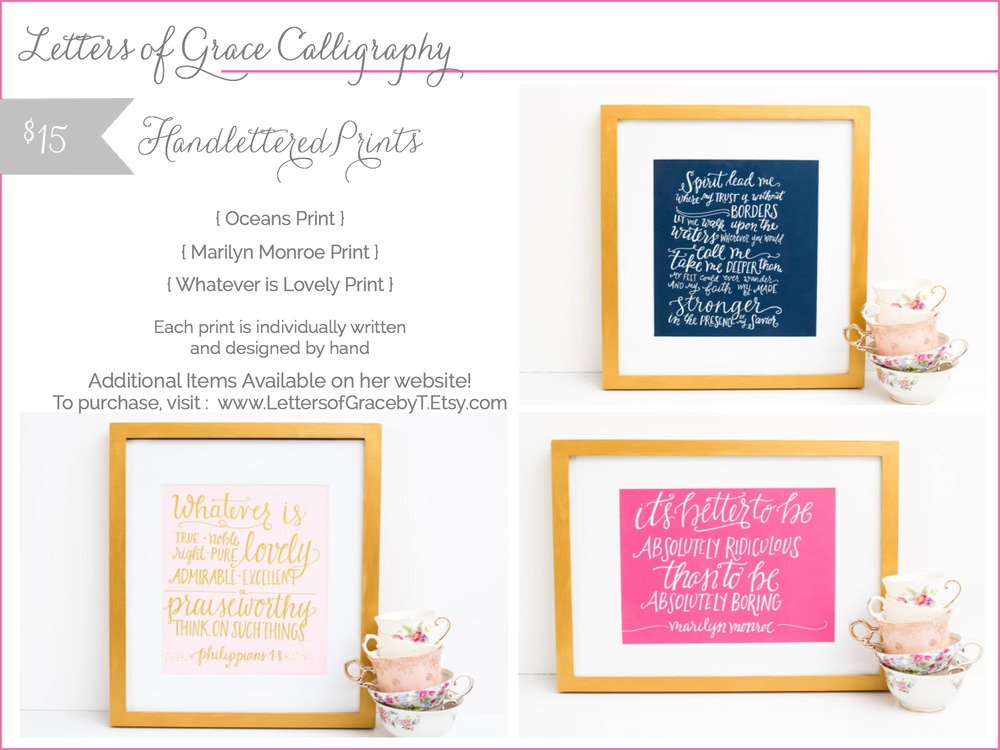letters of grace calligraphy - handlettered prints - shop small