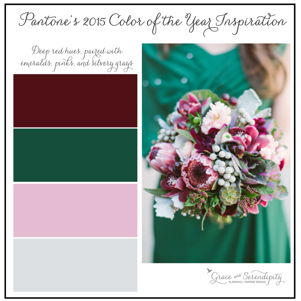 grace and serendipity - marsala inspiration board - burgundy, green, pink, silver