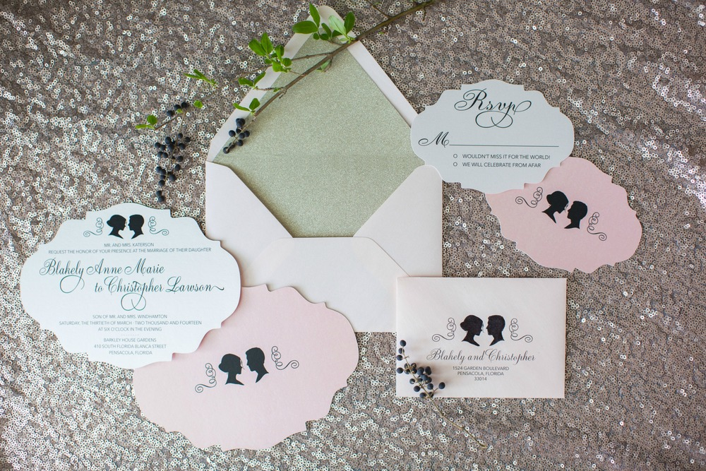 gold glitter envelope liner with blush envelopes