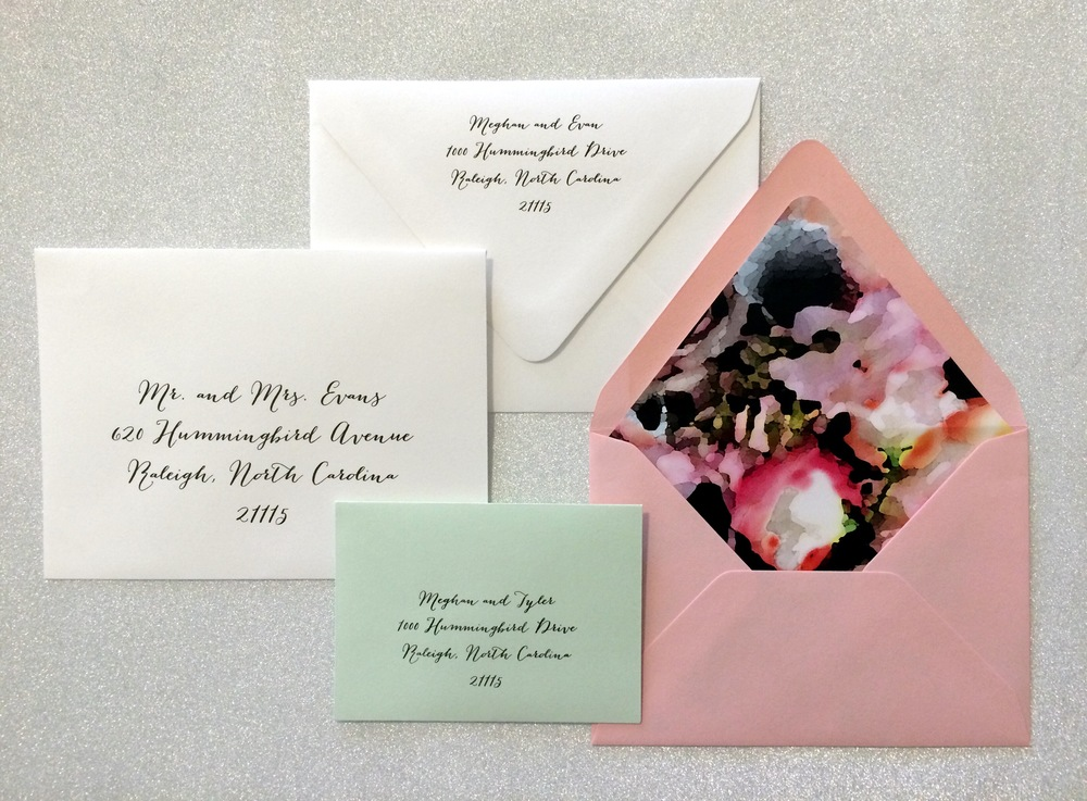 wedding invitations - envelope liner and envelope addressing