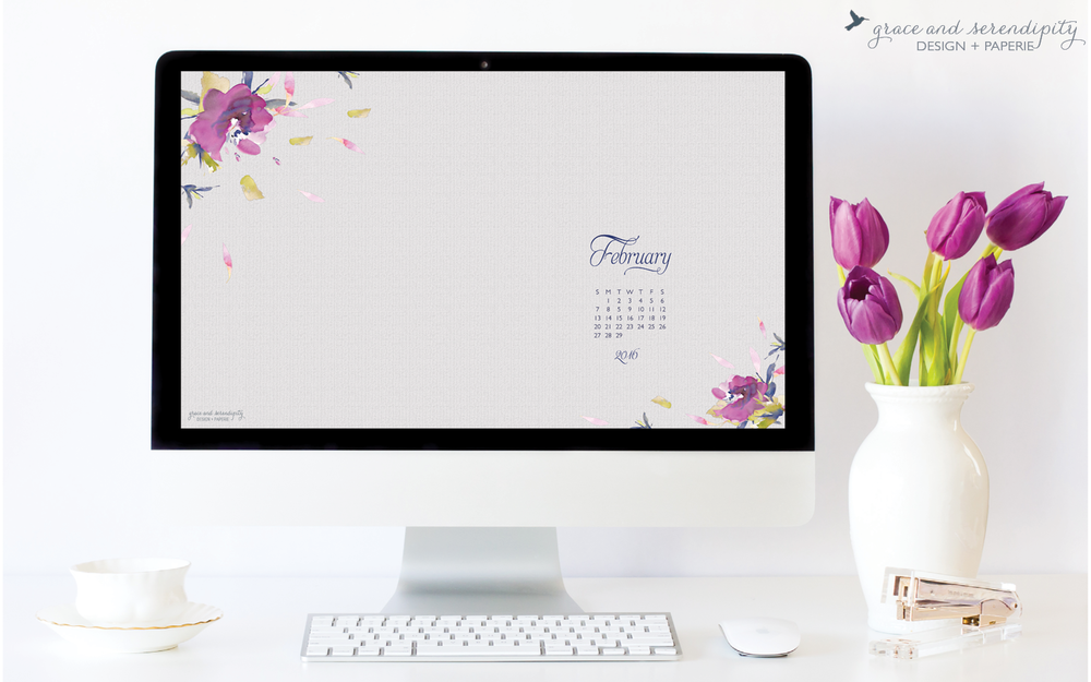 Free Download - February 2016 phone wallpaper and desktop wallpaper - designed by Grace and Serendipity