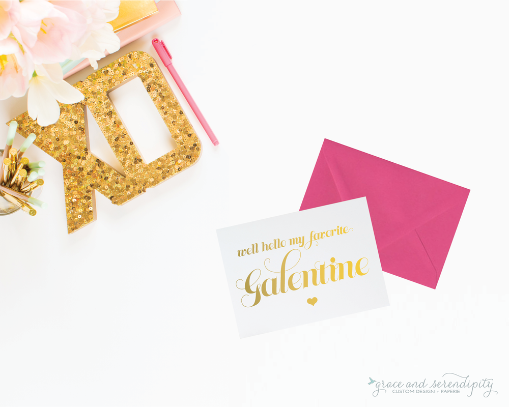 galentine card gold foil valentines card - grace and serendipity