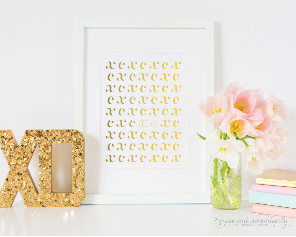 xoxo gold foil valentines print 2- grace and serendipity