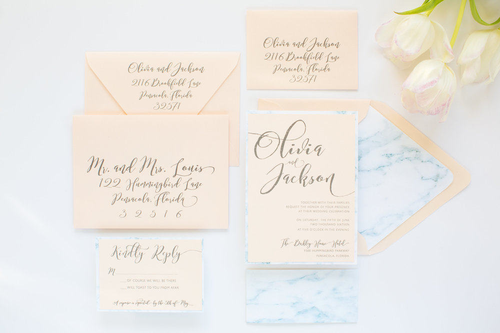 The Blush and Marble Wedding Invitation suite - designed by Grace and Serendipity