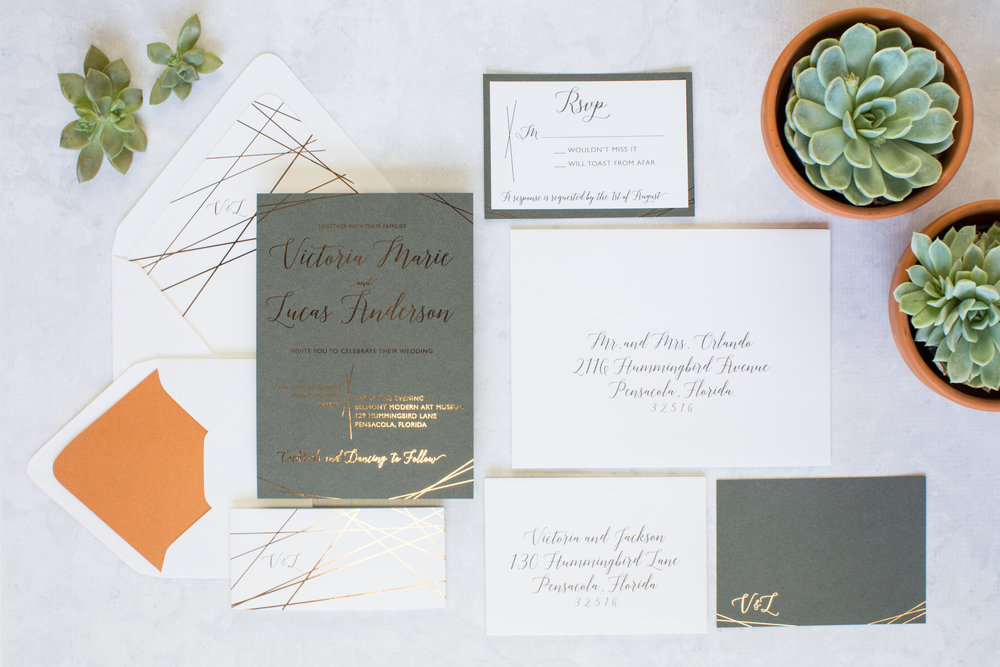 The Copper and Steel Modern Foil Invitation Sutite - designed by Grace and Serendipity