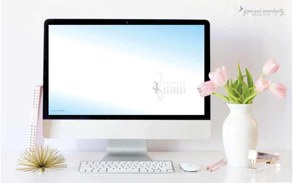 Free April 2016 Desktop Wallpaper Download, designed by Grace and Serendipity