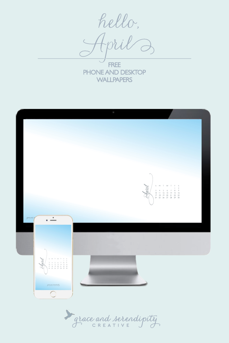 Free April 2016 Desktop and iPhone Wallpapers, designed by Grace and Serendipity