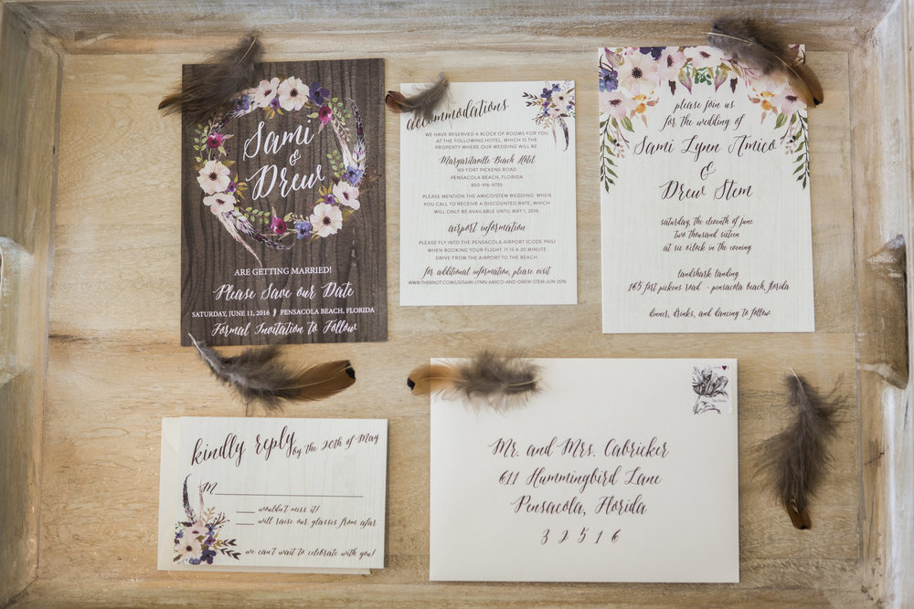 Boho Beach Themed Custom Wedding Invitations by Grace and Serendipity