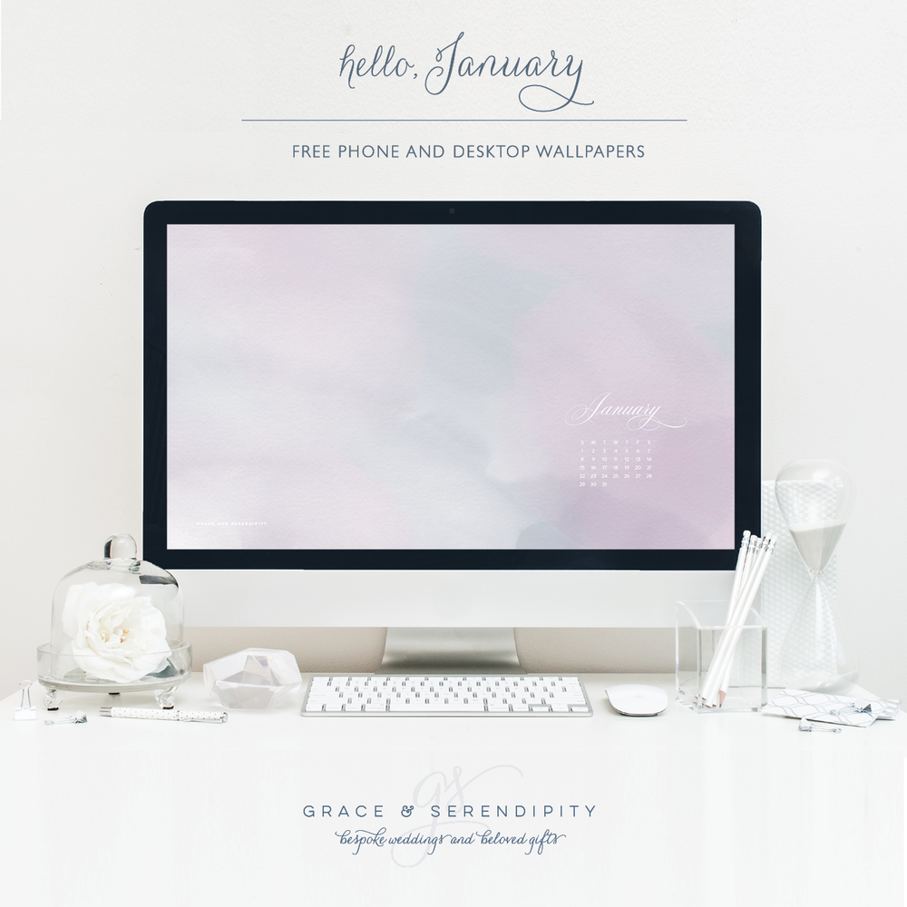 Free January Phone and Desktop Wallpapers by Grace and Serendipity