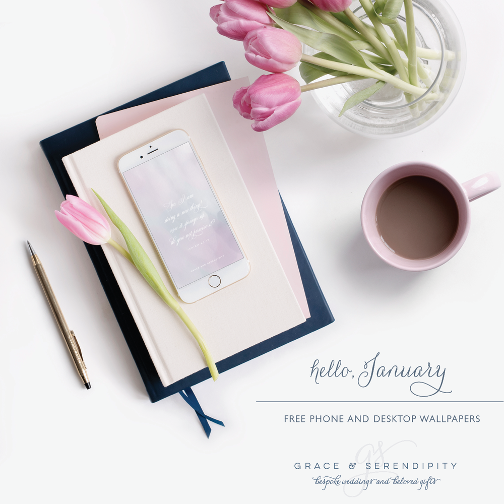 Free January Phone and Desktop Downloads by Grace and Serendipity