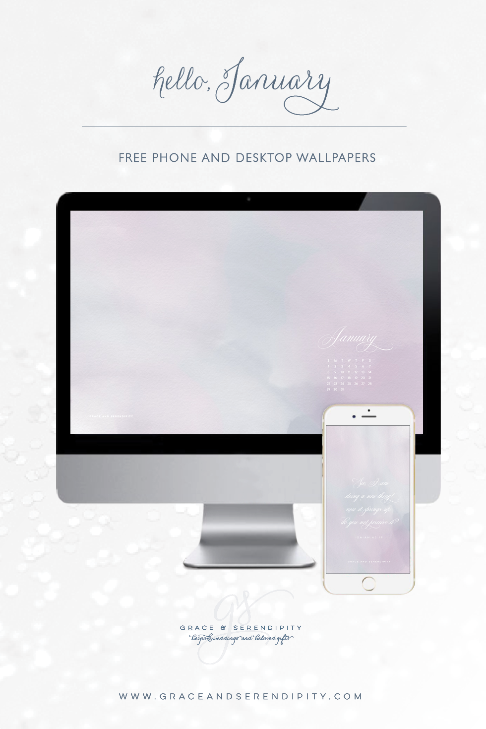Free January Desktop and Phone Downloads by Grace and Serendipity