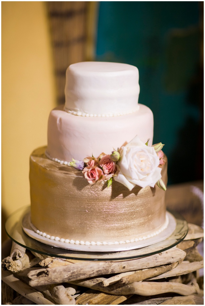 Gold, Pink, and White Wedding Cake by Betty Weber of Pensacola