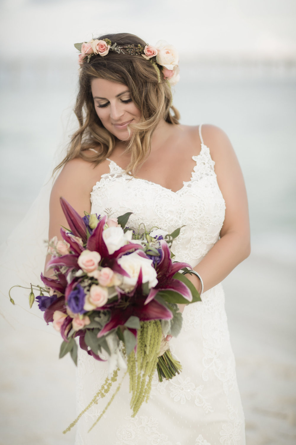 Beautiful Bride Bouquet by Fiore of Pensacola - pink, plum, white, and mint green