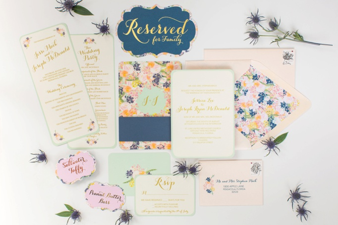 mint, peach, navy flower vintage invitation - grace and serendipity - custom wedding invitation design, pensacola florida_0267