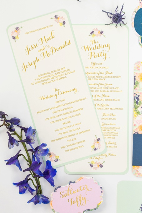 mint, peach, navy flower vintage invitation - grace and serendipity - custom wedding invitation design, pensacola florida_0264