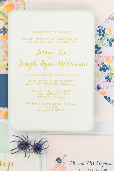 mint, peach, navy flower vintage invitation - grace and serendipity - custom wedding invitation design, pensacola florida_0265