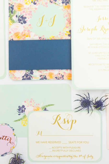 Mint, Peach, and Navy Floral Wedding Invitation and Wedding Program by Grace and Serendipity - 511 Palafox Pensacola Wedding