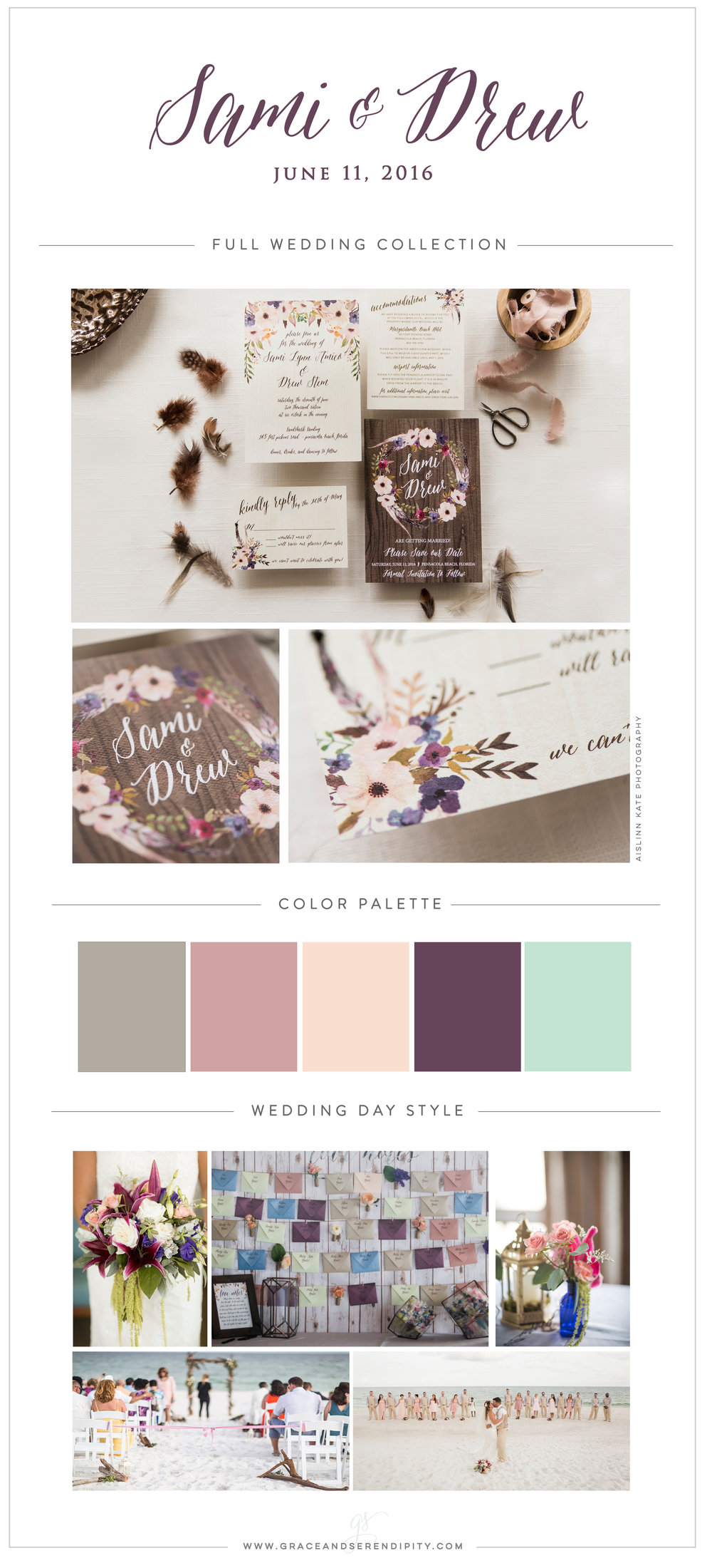 Eggplant, Rose, and Mint Color Palette - Bohemian Beach Wedding - Photography by Aislinn Kate, Fiore of Pensacola, and Grace and Serendipity