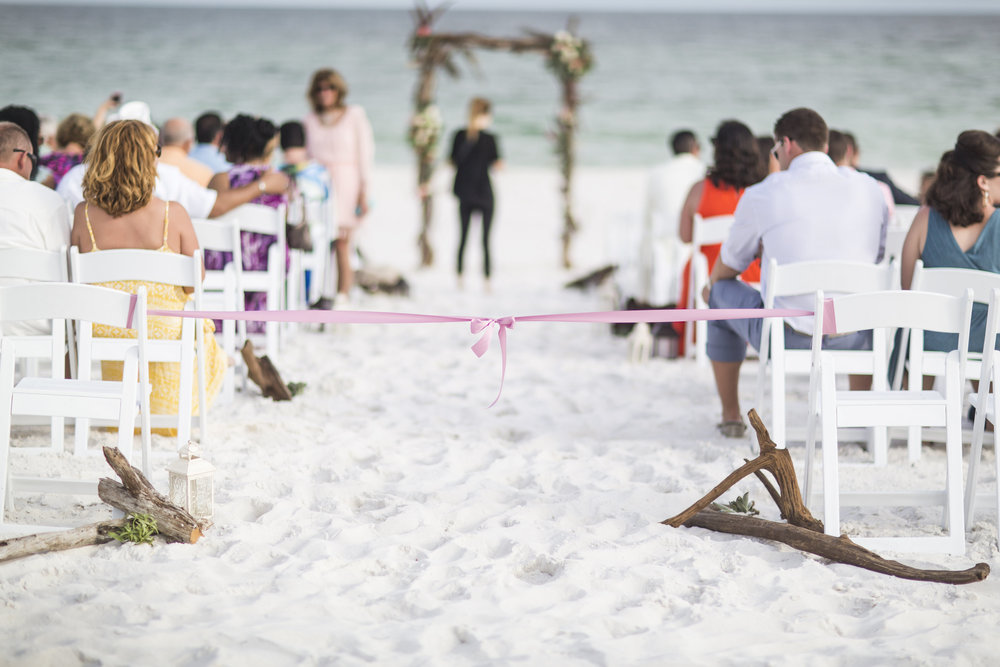 Driftwood Wedding Ceremony - Landshark Landing - Pensacola Beach Wedding, Photography by Aislinn Kate Photography, Design by Grace and Serendipity