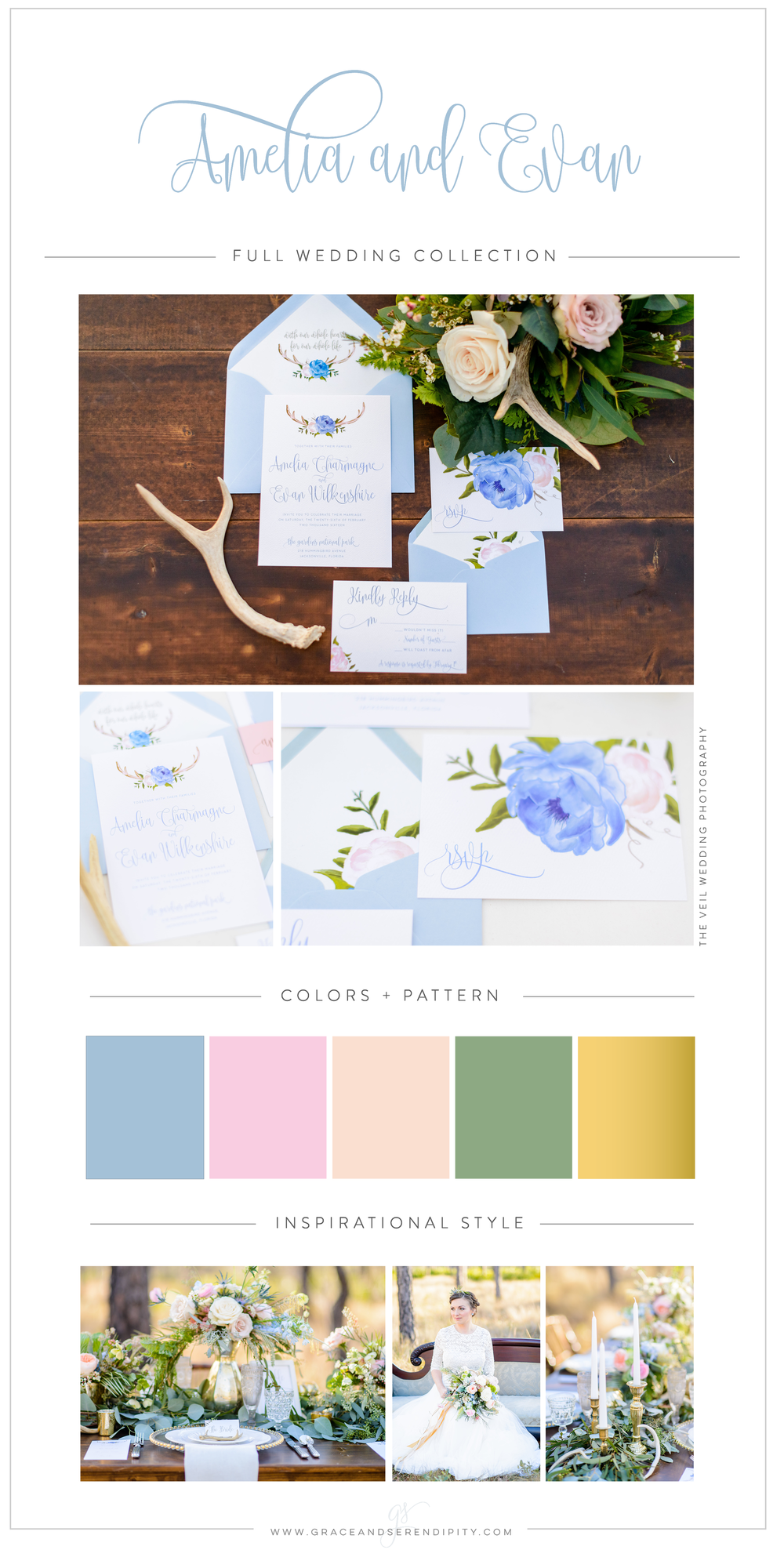 Pantone Inspired Antler Boho Romantic Color Palette - pink, blue, and peach color palette and wedding design by Grace and Serendipity