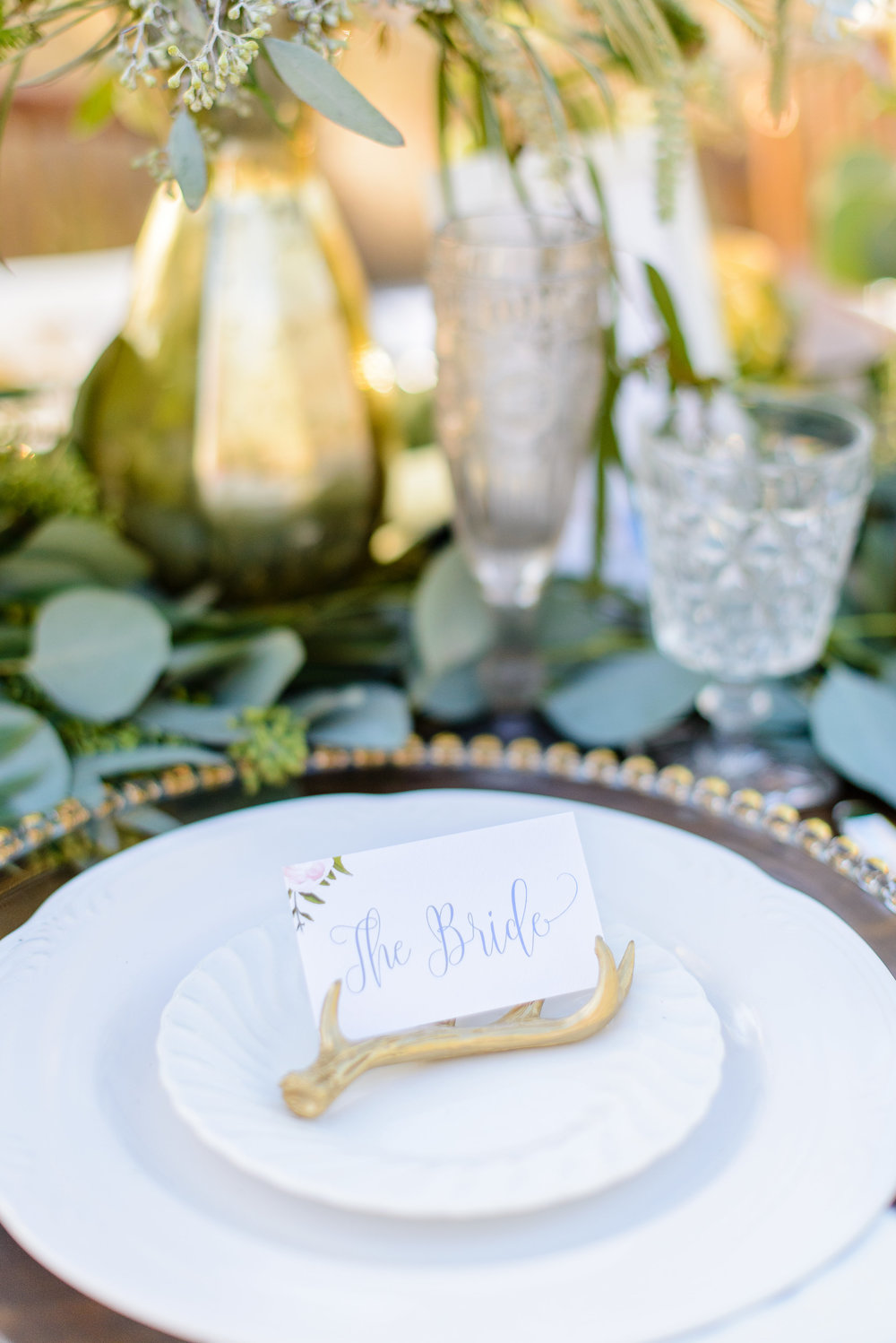 Boho Wedding - Bride Placecards with Antler Details from WeddingStar Magazine - Designed by Grace and Serendipity