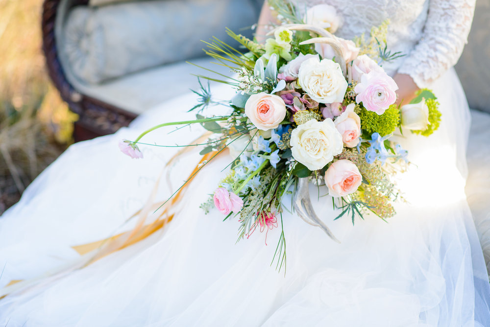 Blue, Pink, Peach Bouquet - Boho Antler Styled Shoot - The Veil Wedding Photography, Lori Parker Floral Studio