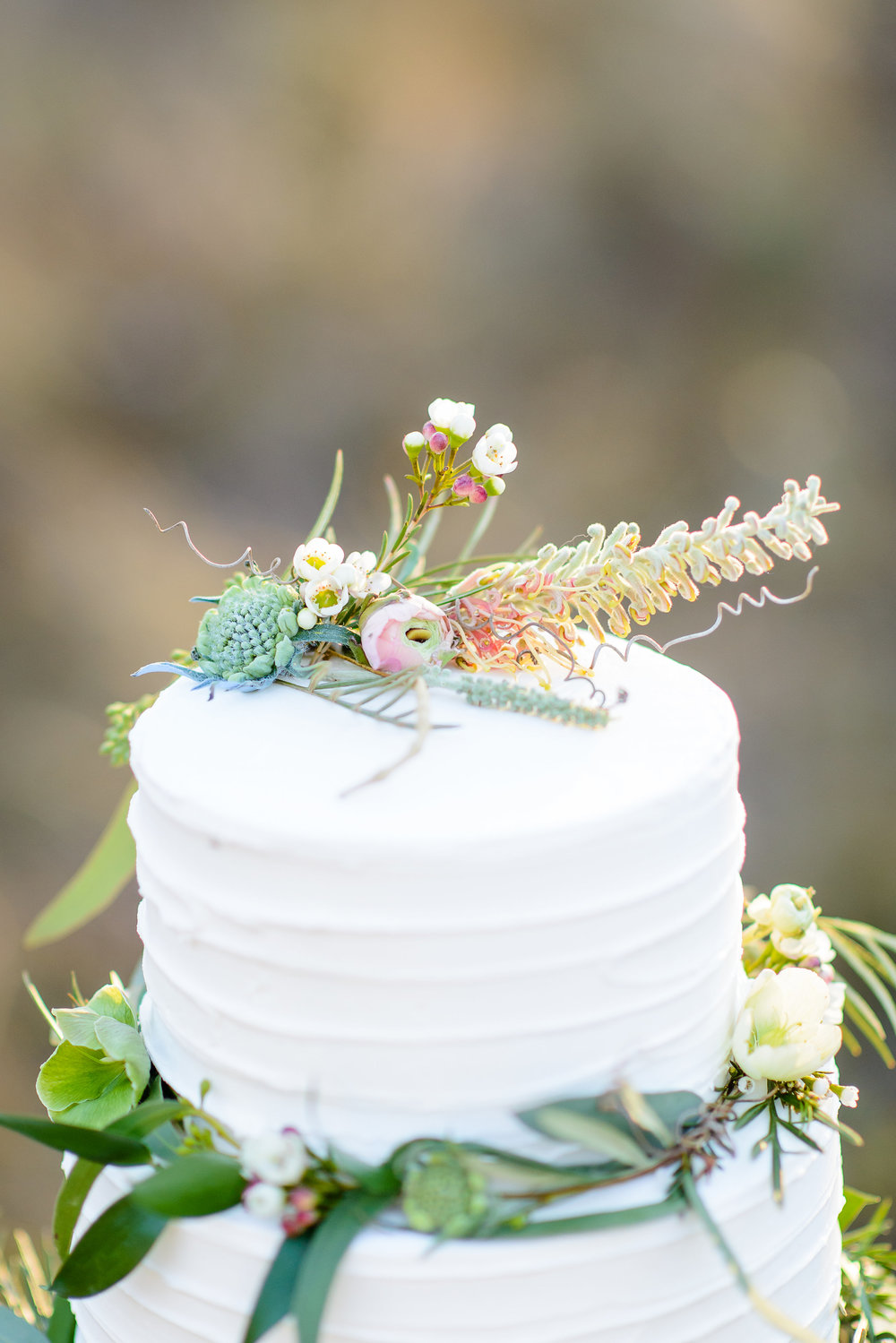 Beautiful Greenery Inspired Wedding Cake by Kakes by Katie